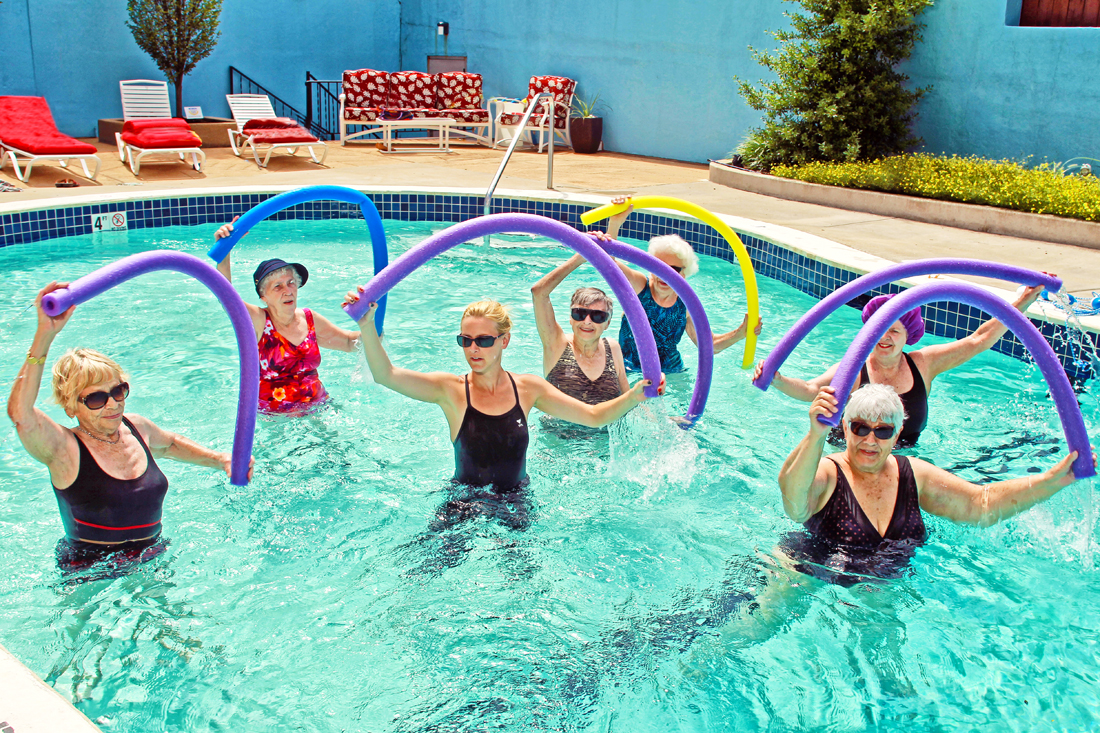 Bethesda Barclay House hosts a water aerobics for seniors class to help keep residents strong, healthy, and happy.