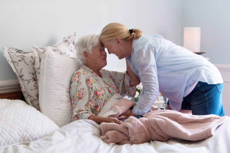 Hospice care is a gift, as it allows moments like these. A senior woman and her daughter spend quality time together.